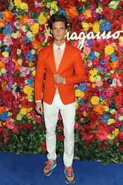 Garrett Neff chose a bright tangerine blazer to give him some color at the launch of L'Icona Highlights.