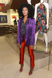 Solange Knowles arrived at the Ferragamo flagship store re-opening in NYC wearing a colorful pair of strappy sandals.