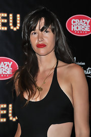 It was hard to decide which was cooler--Paz de la Huerta's cutout dress or those super-red lips.