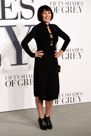 Liberty Ross opted for a long-sleeve, keyhole-neckline LBD when she attended the 'Fifty Shades of Grey' London premiere.