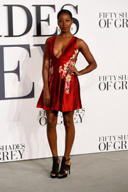 Jamelia stole the limelight with this cleavage-revealing red mini dress by Patricia Bonaldi during the 'Fifty Shades of Grey' UK premiere.