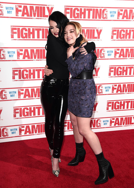 More Pics of Florence Pugh Mid-Calf Boots (4 of 12) - Boots Lookbook - StyleBistro [fighting with my family,clothing,carpet,premiere,flooring,footwear,red carpet,thigh,arrivals,florence pugh,paige knight,uk,england,london,bfi southbank,vip,premiere]