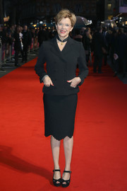 Annette Bening went business-chic in a black skirt suit at the European premiere of 'Film Stars Don't Die in Liverpool.'