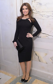 Kimberly Guilfoyle went for subdued sophistication at the 'Films Without Borders Launch' with a long-sleeve LBD featuring a beaded neckline and peekaboo details.