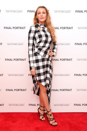 Blake Lively was modern in an asymmetrical-hem Monse dress featuring an oversized gingham print at the New York screening of 'Final Portrait.'