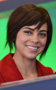 Krysta Rodriguez looked modern and edgy with her choppy graduated bob at the Nasdaq Closing Bell event.