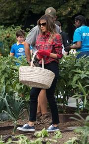 Melania Trump completed her casual ensemble with blue Converse sneakers.