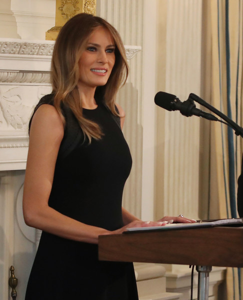 More Pics of Melania Trump Layered Cut (1 of 15) - Long Hairstyles Lookbook - StyleBistro [melania trump,shoulder,arm,little black dress,long hair,dress,brown hair,photo shoot,lunch,white house on international womens day,luncheon,white house,washington dc,state dining room]