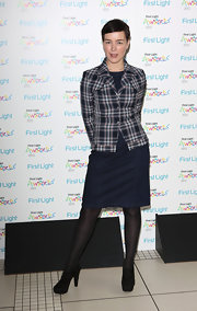 Olivia Williams paired this plaid blazer with her denim dress for a cool and quirky look at the First Light Awards.