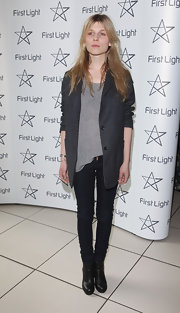 Clemence rocks a pair of dark skinny jeans for the First Light Awards in London.