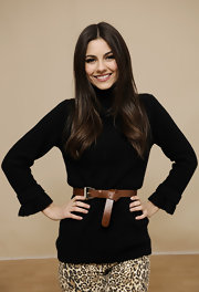 Victoria Justice looked very mature in her black turtleneck for the Sundance portraits.