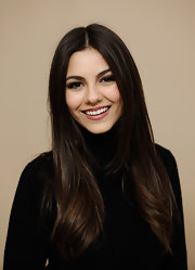 Victoria Justice wore her lengthy locks  straight at the 2012 Sundance Film Festival