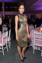 Camilla Belle channeled the East in this sexy gold keyhole dress at the Tribeca Film Festival's premiere of 'The Five Year Engagement.'