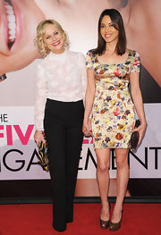 Amy Poehler looked charming in these classic black slacks and a lace blouse at Tribeca Film Festival's premiere of 'The Five Year Engagement.'