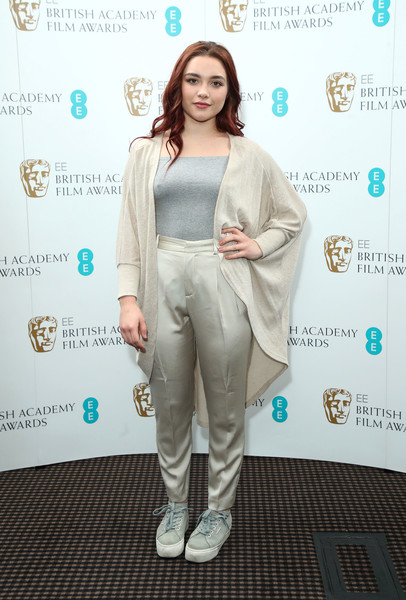 Florence Pugh Canvas Sneakers [photocall,clothing,fashion,fashion design,carpet,pantsuit,flooring,style,rising star,florence pugh,ee,london,england,bafta,rising star nominations,announcement]