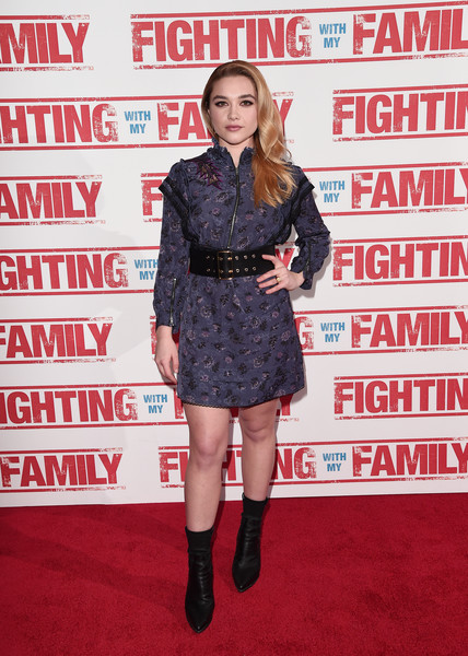Florence Pugh Print Dress [fighting with my family,clothing,carpet,red carpet,footwear,premiere,joint,flooring,leg,thigh,dress,arrivals,florence pugh,uk,england,london,bfi southbank,vip,premiere]