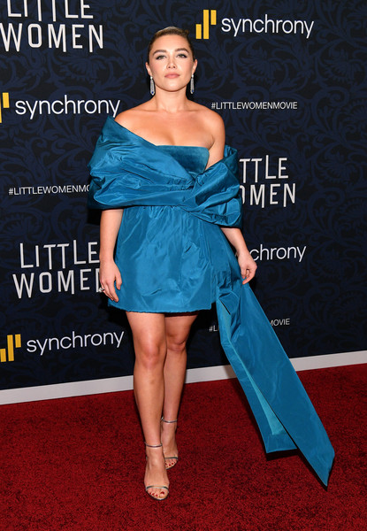 Florence Pugh Evening Sandals [clothing,dress,shoulder,cocktail dress,cobalt blue,carpet,electric blue,premiere,red carpet,fashion,florence pugh,new york city,museum of modern art,little women world premiere,eliza scanlen,little women,the museum of modern art,premiere,photograph,art museum,red carpet,celebrity,florence pugh,saoirse ronan]