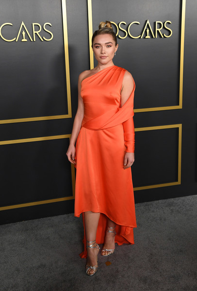 Florence Pugh Strappy Sandals [clothing,dress,orange,shoulder,cocktail dress,red,fashion,fashion model,red carpet,carpet,arrivals,nominees,florence pugh,hollywood,california,oscars,oscars nominees luncheon,92nd academy awards,dolby theatre,florence pugh,91st academy awards,little women,nomination,academy award for best actress in a supporting role,getty images,hollywood]