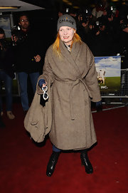 Vivienne Westwood cozied up in a tan wool coat at the 'Food Inc' screening.