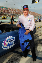 Buzz Aldrin promotes NASA during the Ford 400 event.
