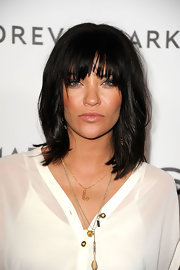Jessica Szohr left her layered locks looking ultra-casual at the 'InStyle' Golden Globe Awards Event.