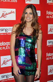 Amaia Salamanca transformed a colorful sequined top into a mini dress by wearing it with black stockings at the Fotogramas Awards 2010.