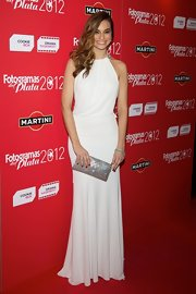 Norma Ruiz kept her evening look simple and elegant with this white evening gown.