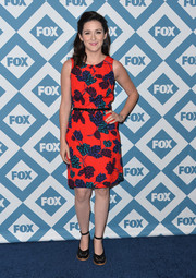 Shannon Woodward looked bright and colorful in a sleeveless floral dress during the Fox All-Star party.