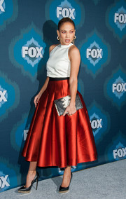 Jennifer Lopez's full red Noir Sachin & Babi skirt added major glamour to her simple top.