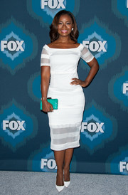 Erica Tazel looked very classy at the Fox All-Star party in a little white dress with sheer stripes.