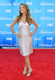 Jane Seymour completed her look with a strappy gold pair of slingbacks.