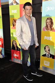Cory paired his classic jeans with a tan blazer.