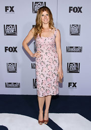 At the Golden Globes after party, Connie Britton topped off her floral frock with classic peep-toe pumps.