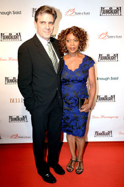 Alfre Woodard looked very feminine in a blue and black lace cocktail dress during the Fox Searchlight TIFF party.