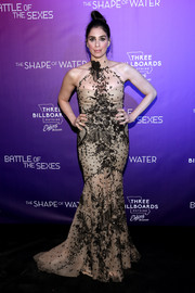 Sarah Silverman stole the spotlight in a nude Galia Lahav Couture halter gown with black floral embroidery at the Fox Searchlight TIFF party.