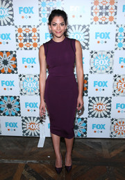 Inbar Lavi was sporty-stylish in a sleeveless purple sheath dress during the Fox Summer TCA All-Star Party.