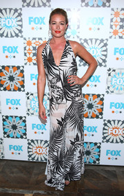 Cat Deeley brought a beach vibe to the Fox Summer TCA All-Star Party with this black-and-white tropical-print halter dress.
