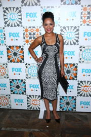 Grace Gealey flaunted some fab curves in this body-con black-and-white print dress during the Fox Summer TCA All-Star Party.