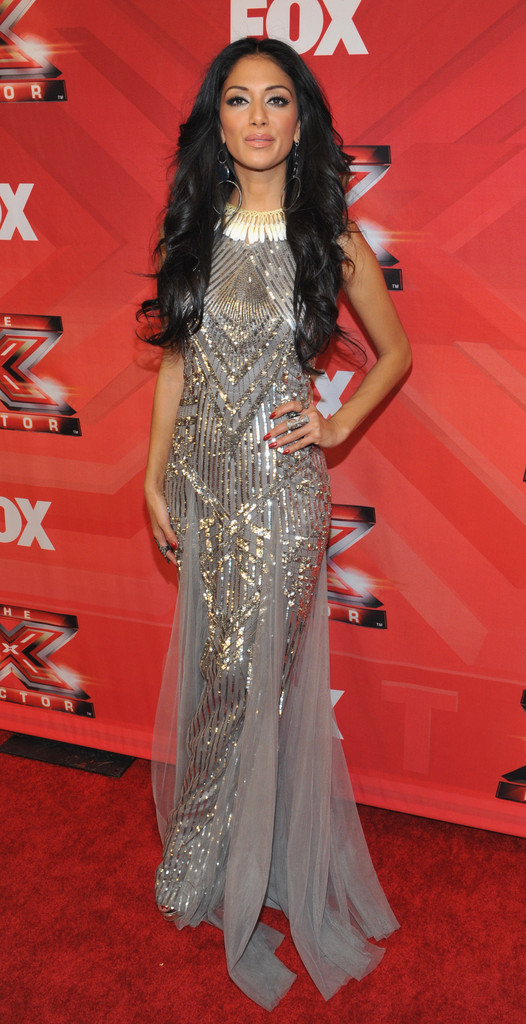 "Judge Nicole Scherzinger poses at Fox Television&squot;s ""The X Factor"" Season Finale at CBS Televison City on December 22, 2011 in Los Angeles, California."