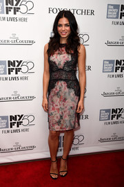 Jenna Dewan-Tatum wore a floral and lace fitted dress by Marchesa Notte to the 52nd New York Film Festival.