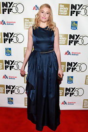 Greta Gerwig looked youthful yet elegant at the 'Frances Ha' gala presentation in a midnight-blue evening dress with ruffle detailing.