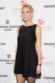 Gwyneth Paltrow showed off a Frederique Constant stainless steel watch set with diamonds while attending the brand's Smartwatch launch.