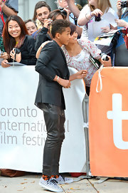 Jaden Smith completed his eclectic ensemble with a pair of leopard-print canvas sneakers at the 2012 Toronto International Film Festival.