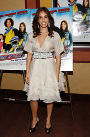 Sandra Echeverria attended the 'Free Style' premiere in NYC in a fun feminine ruffled silk frock.