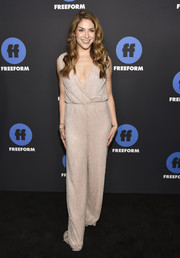 Allison Holker donned a slouchy nude jumpsuit for the Freeform Summit.