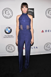 Whitney chose an indigo jumpsuit for her look at the Friars Foundation Annual Applause Award Gala.