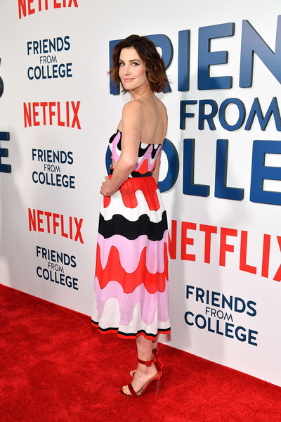 More Pics of Cobie Smulders Evening Sandals (3 of 10) - Heels Lookbook - StyleBistro [carpet,premiere,dress,magazine,advertising,red carpet,flooring,banner,arrivals,cobie smulders,new york,amc 34th street,friends from college,premiere]