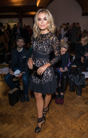 Tallia Storm chose a pair of black gladiator heels to team with her dress.