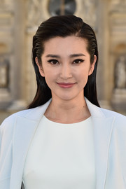 Li Bingbing wore her hair down and slicked back at the sides when she attended the Dior fashion show.