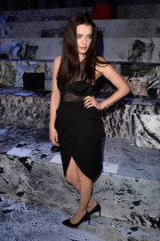 Roxane Mesquida flashed plenty of skin in a sheer-panel LBD during the H&M fashion show.